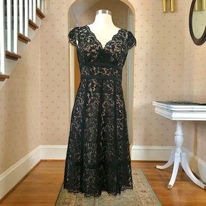 Ann Taylor Loft Black Lace Dress with Cap Sleeves
